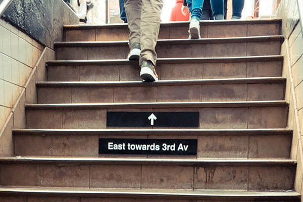 NY Subway stairs sign