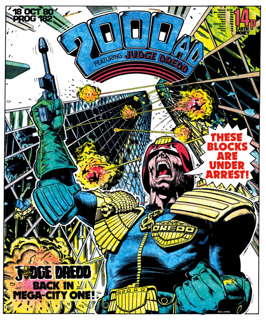 Block war! The iconic cover of prog 182 by Brian Bolland was emulated in the movie Judge Dredd (1995) starring Sylvester Stallone
